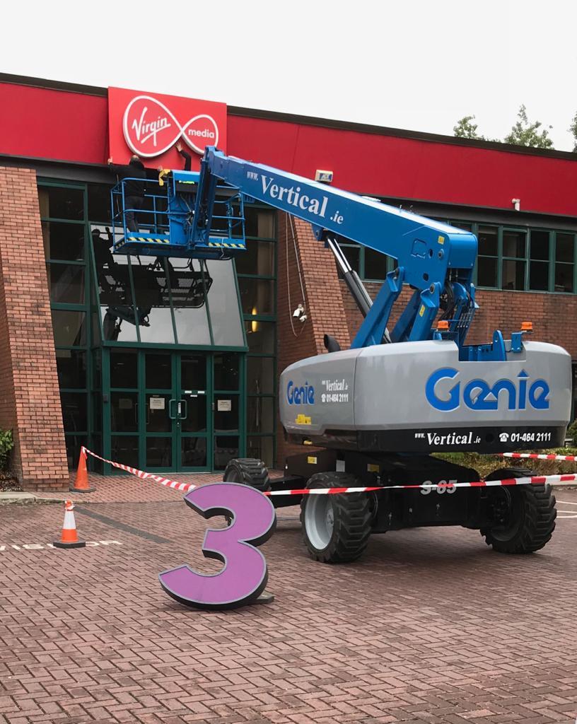Installing the new virgin media sign outside their dublin headquarters elite branding