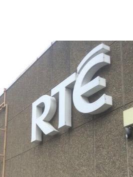 Large white RTE Logo sign outside Donnybrook building