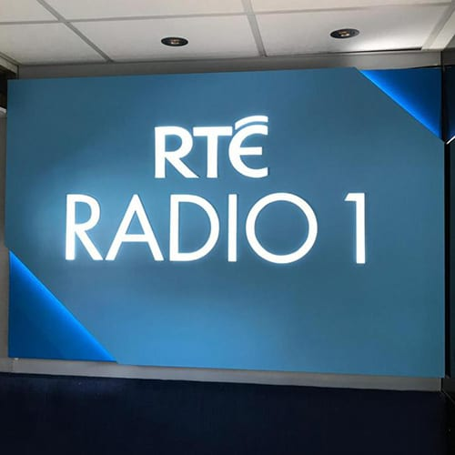 RTE Radio 1 backdrop sign made by Elite Branding