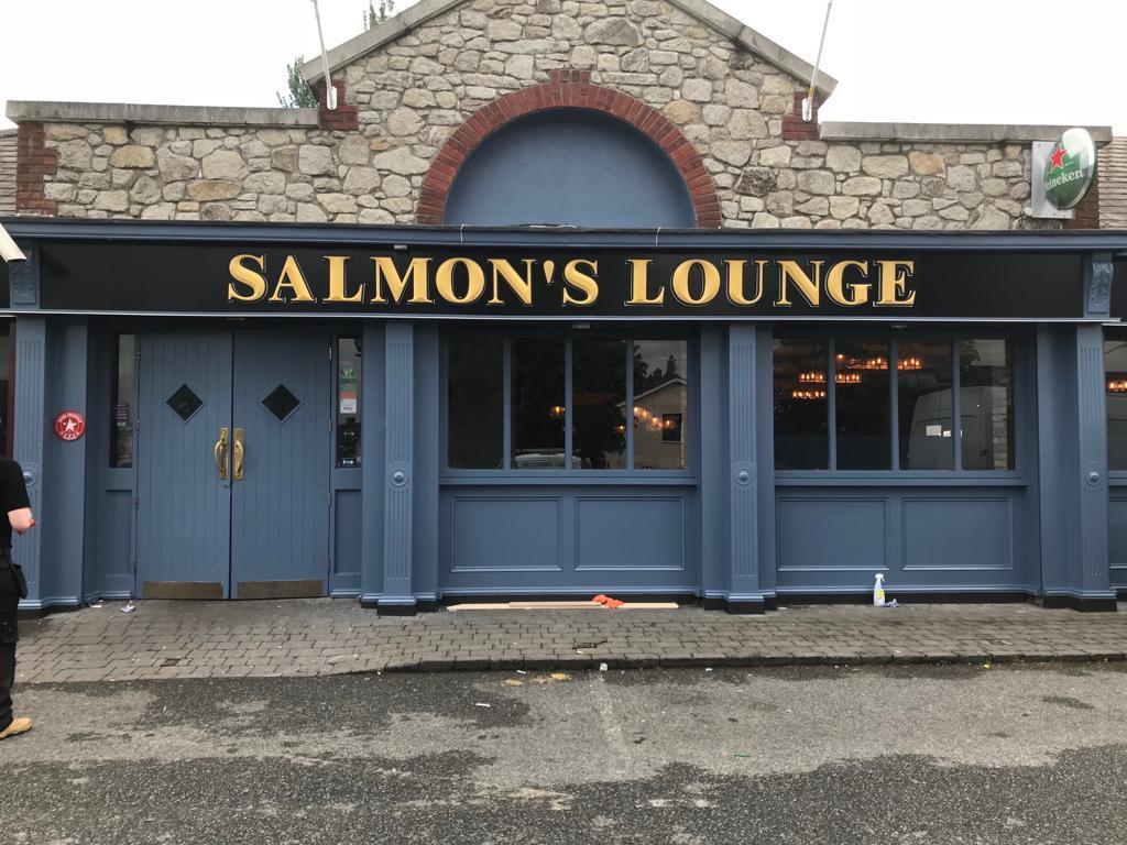 Salmons Lounge Pub Signage Gold lettering on Black Board - By Elite Branding