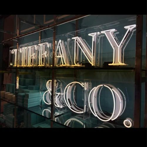 Tiffany and Co signage glowing lettering made by Elite Branding