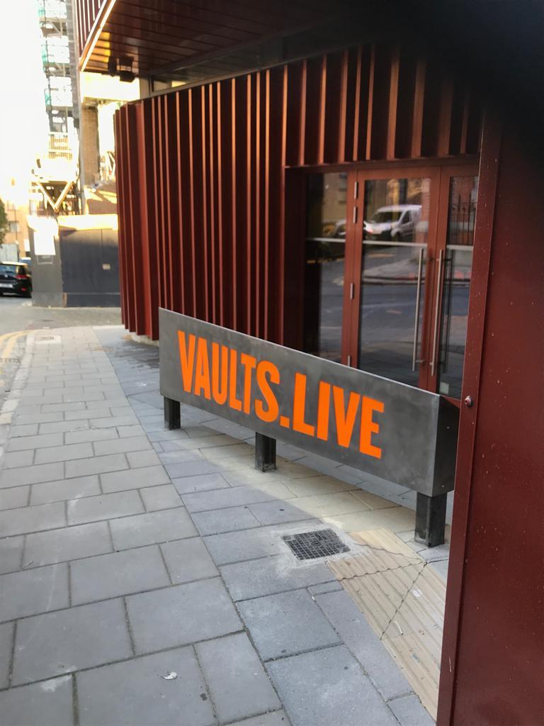 Vaults Live Sign made by Elite Branding Dublin Metal and orange