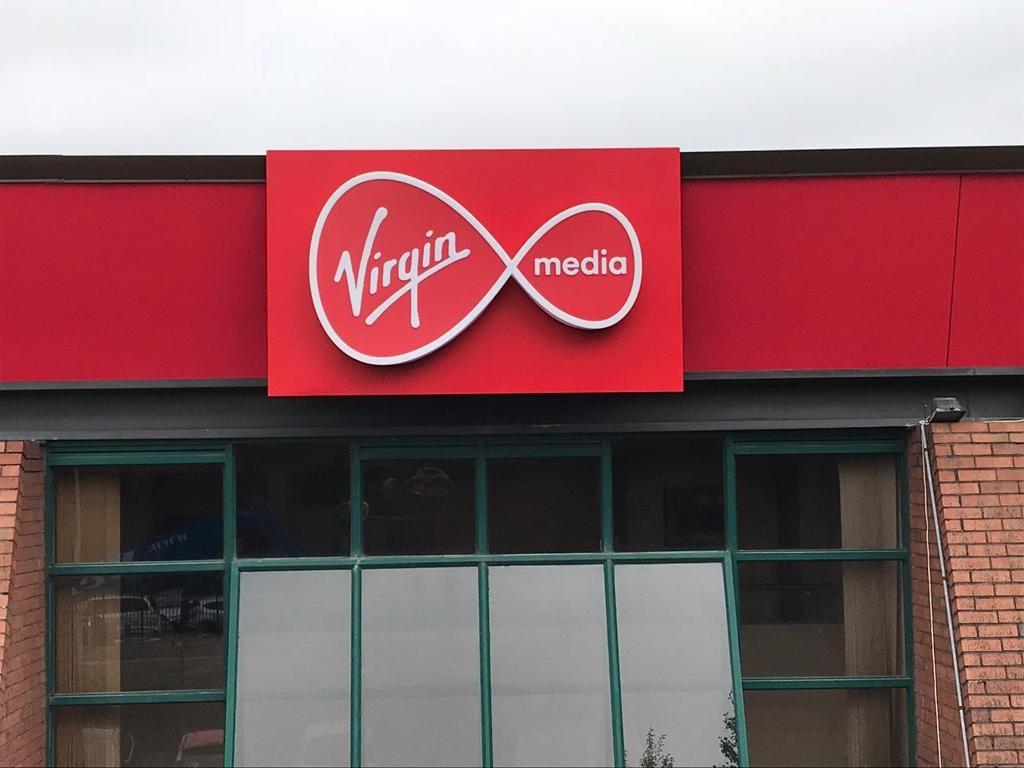 Virgin Media Signage installed outside HQ in Ireland Elite Branding