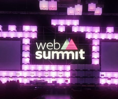 Event Signage for Web Summit Event - Purple Light Up display with illuminated logo made by Elite Branding Ireland